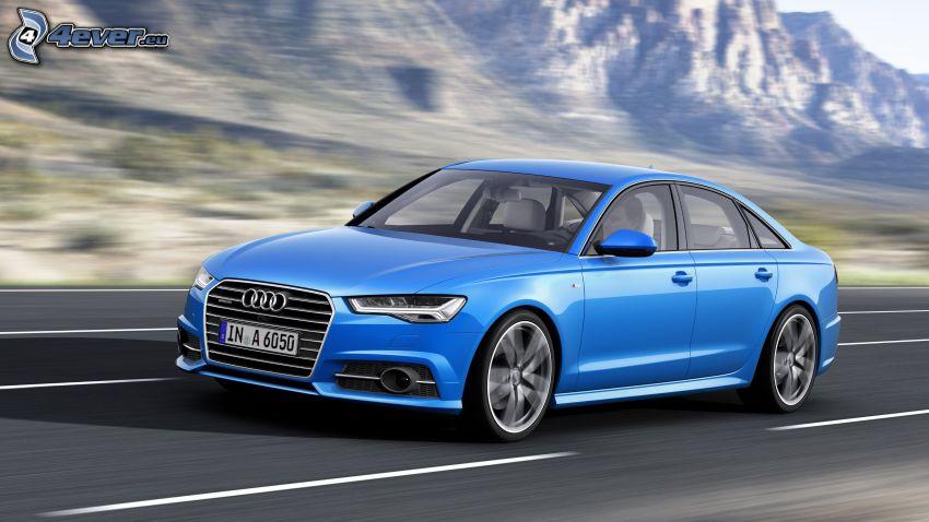 Audi S6, camino, acelerar, sierra