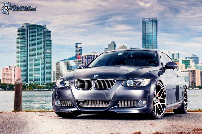 BMW, delantera de coche, rascacielos, HDR