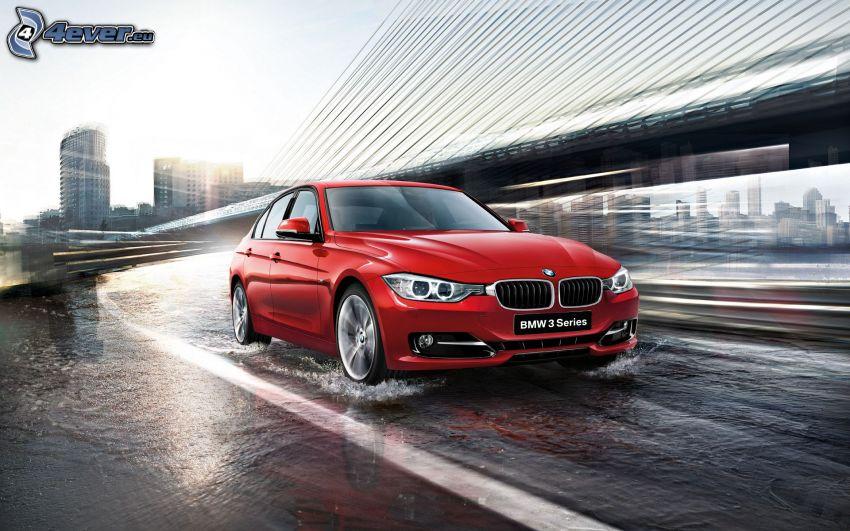 BMW 3, acelerar, agua, bajo el puente