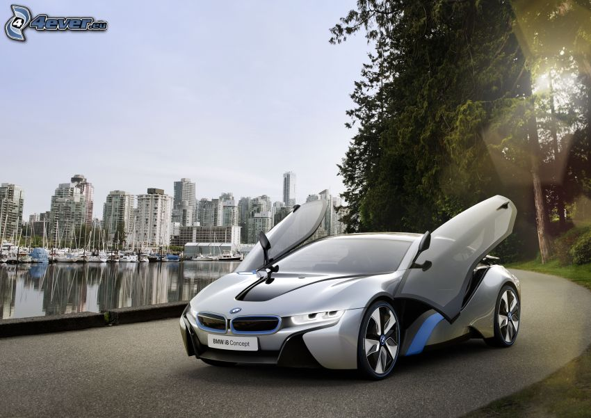 BMW i8, puerta, puerto, rascacielos