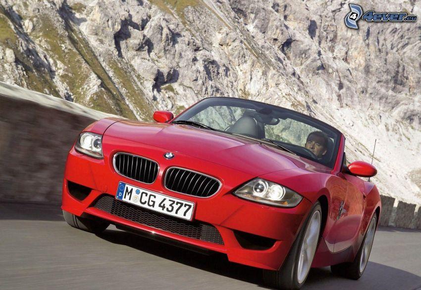 BMW Z4, descapotable, acelerar, roca