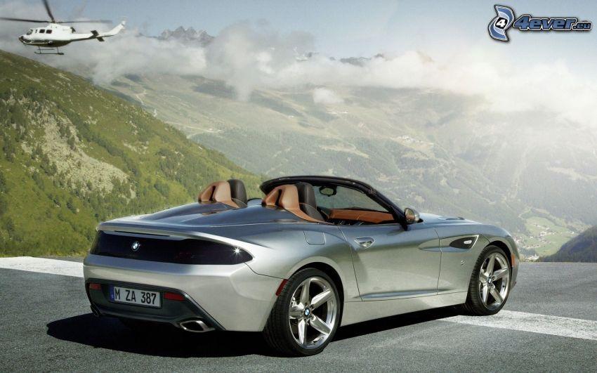 BMW Zagato, descapotable, colina, nubes, vista del paisaje, helicóptero