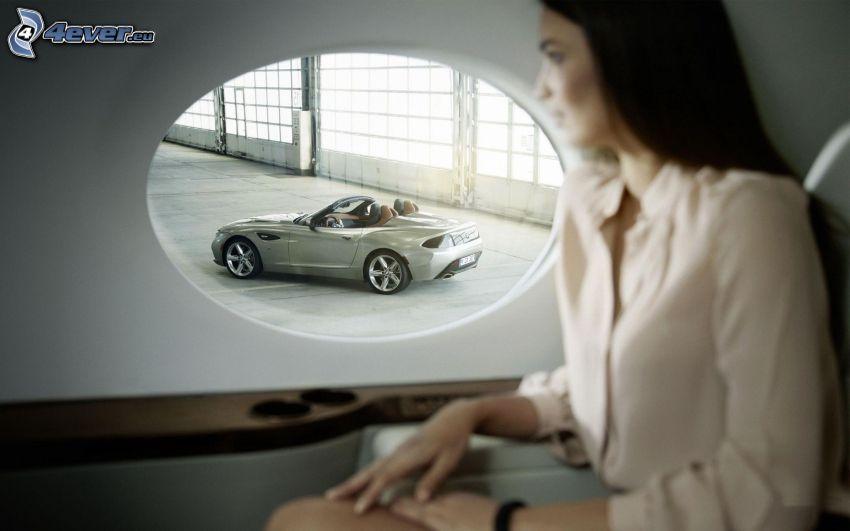 BMW Zagato, descapotable, mujer, ventana