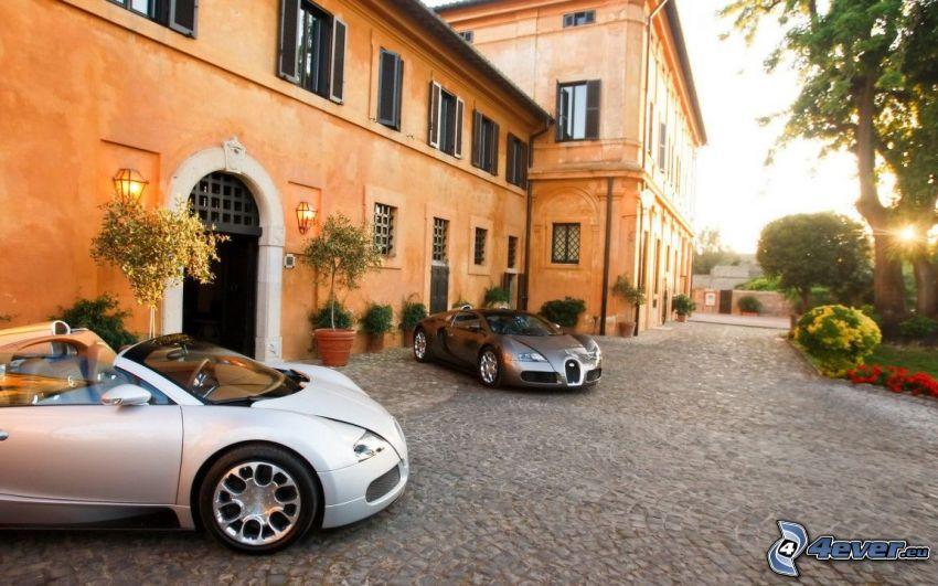 Bugatti Veyron, descapotable, casa, pavimento