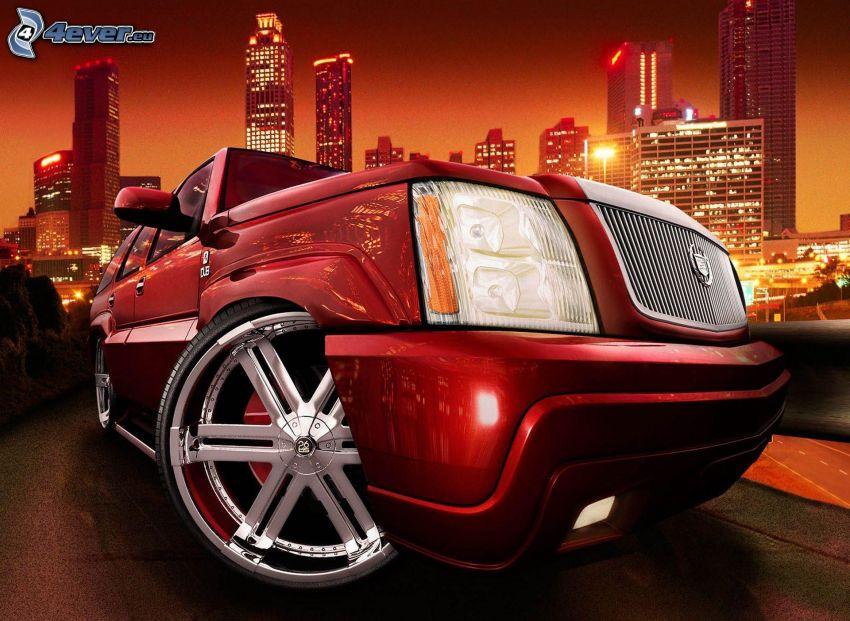 Cadillac, delantera de coche, rascacielos