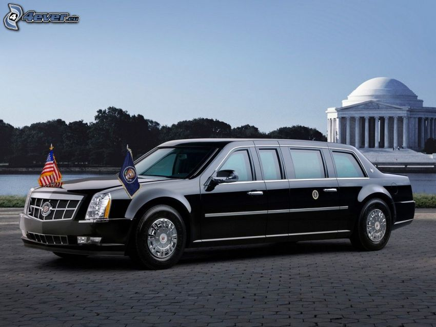 Cadillac, limusina, banderas, pavimento, USA