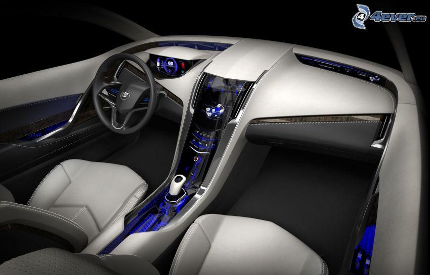 Cadillac Converj, concepto, interior, volante, cuadro de mandos - salpicadero