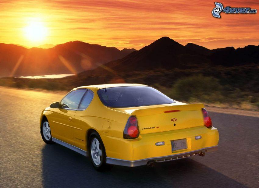Chevrolet, acelerar, puesta del sol, colina