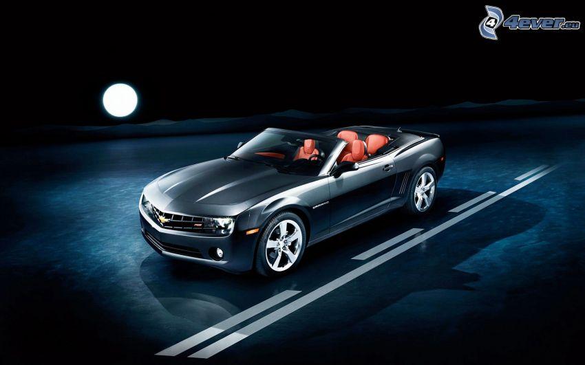 Chevrolet Camaro, descapotable, Luna llena, noche, camino
