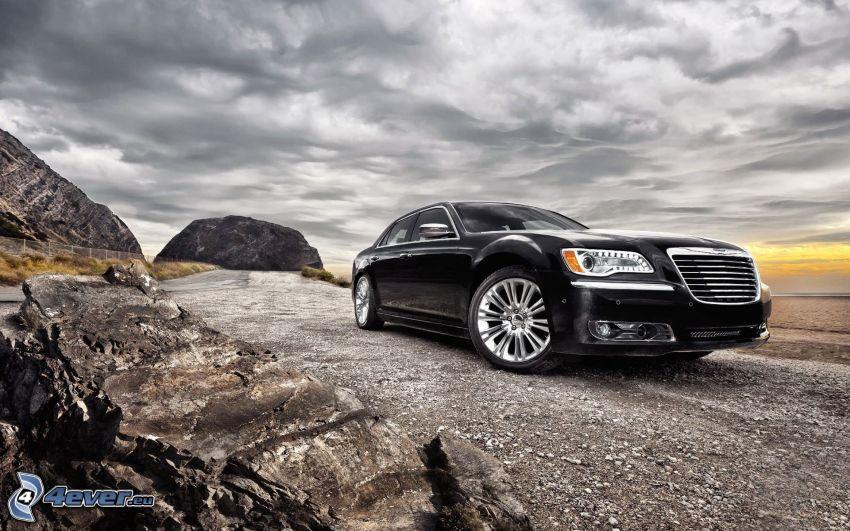 Chrysler, rocas, nubes, HDR