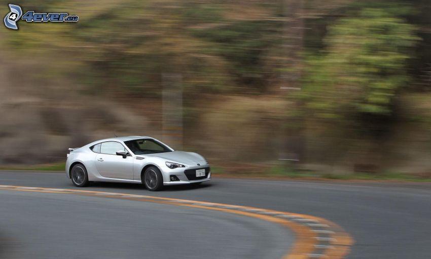 coche, acelerar, curva