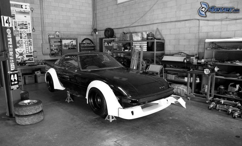 coche, taller, blanco y negro