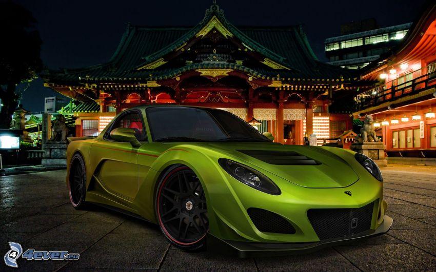 coche deportivo, Edificio chino, atardecer