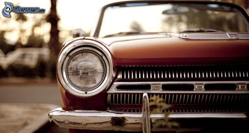 Dodge, veterano, delantera de coche, reflector
