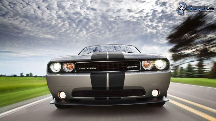 Dodge Challenger SRT, delantera de coche, camino, acelerar