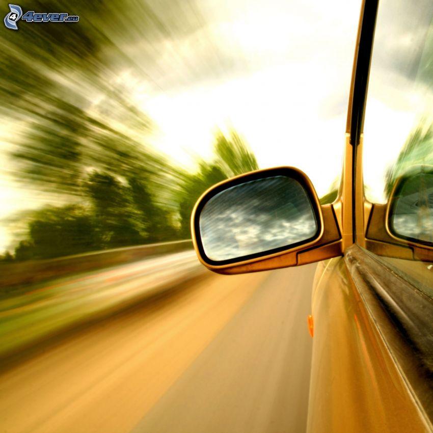 espejo retrovisor, coche, acelerar