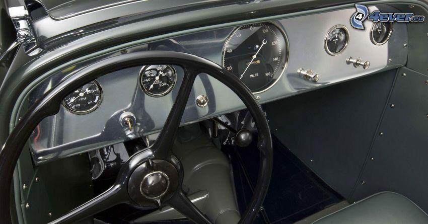 Ford, veterano, interior, volante