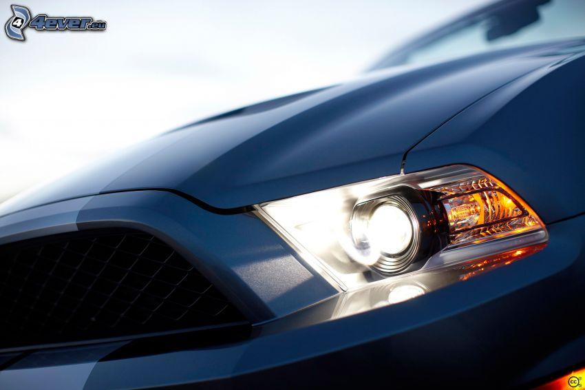 Ford Mustang, faro delantero, delantera de coche