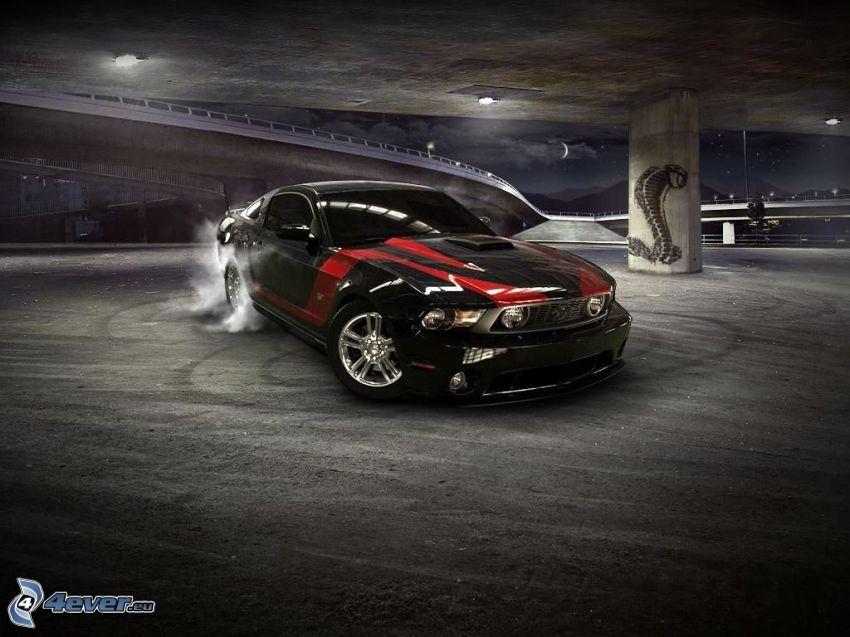 Ford Mustang Shelby, burnout, humo, cobra, noche, bajo el puente