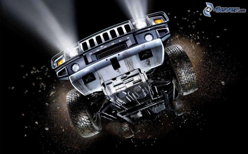 Hummer H2, coche todoterreno, salto
