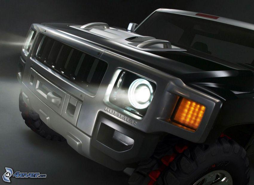Hummer H3, delantera de coche, reflector