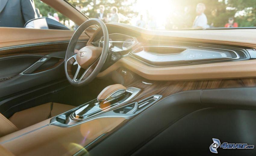 Interior Cadillac Elmiraj, puesta del sol, volante