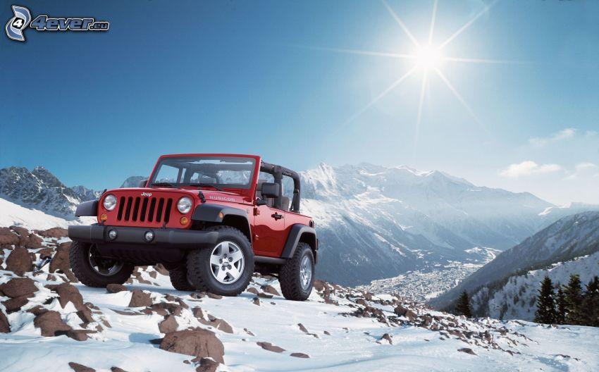 Jeep Wrangler, coche todoterreno, terreno, montaña rocosa, nieve, sol, vista al valle