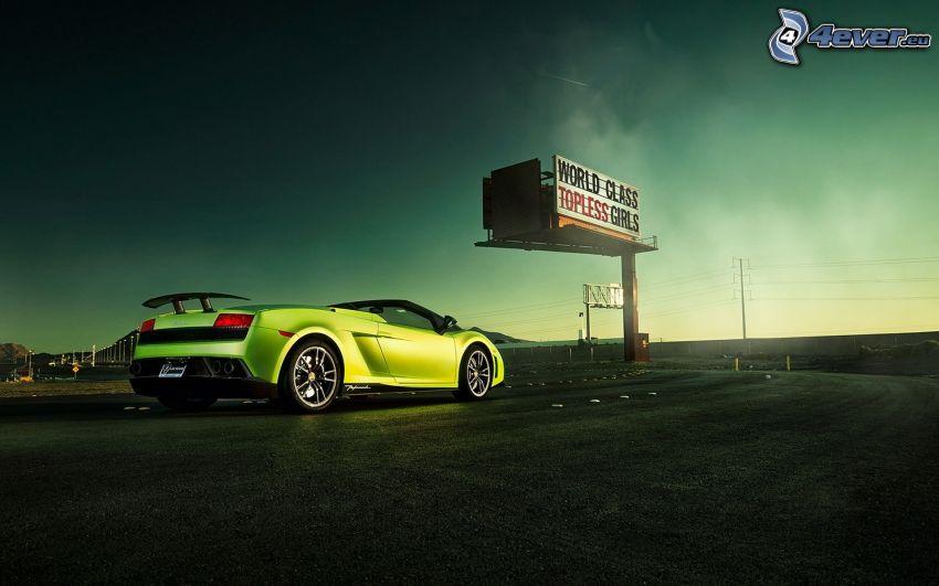 Lamborghini, descapotable, coche deportivo, camino