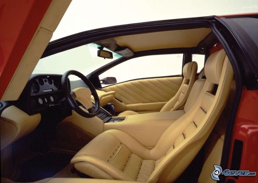 Lamborghini Diablo, interior, asiento, volante