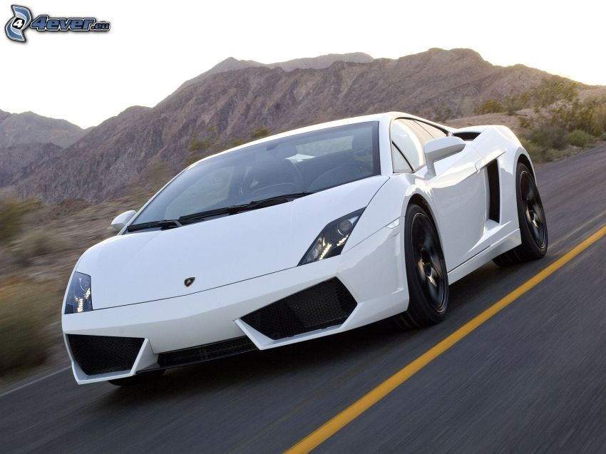 Lamborghini Gallardo LP560, camino, acelerar, montañas rocosas