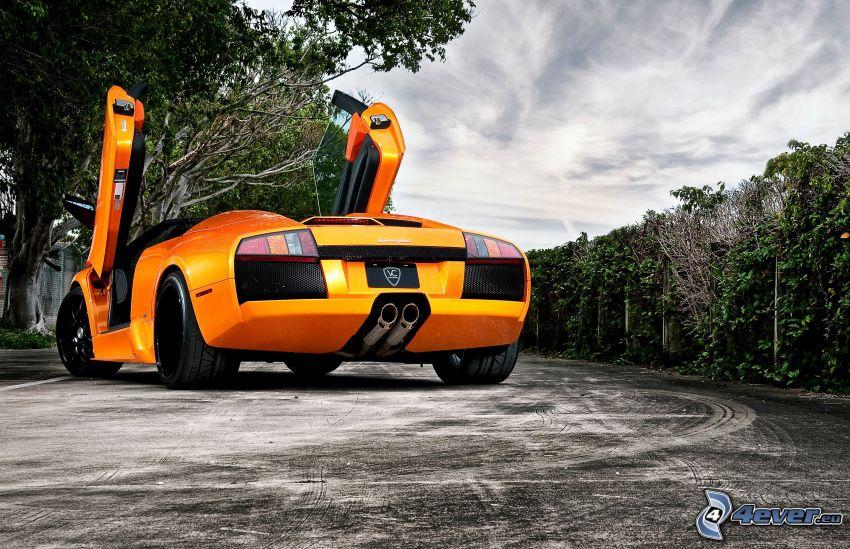 Lamborghini Reventón, camino, bosque, HDR