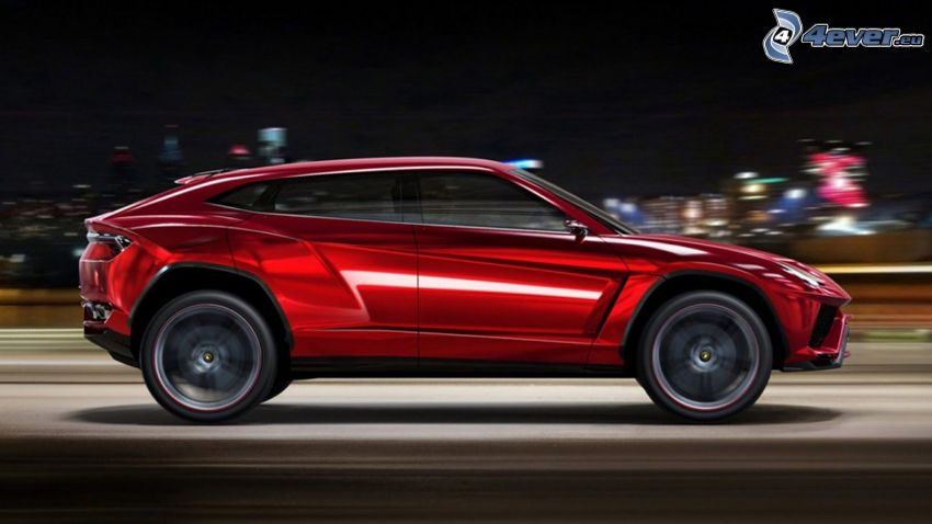 Lamborghini Urus, acelerar, ciudad de noche