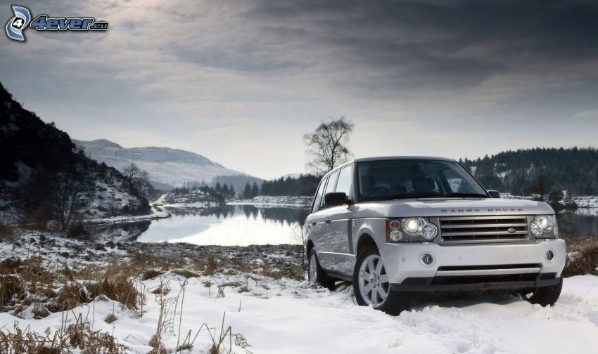 Land Rover DC100, lago, nieve, sierra, cielo