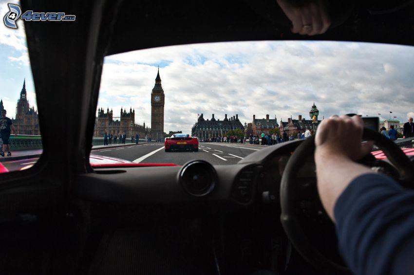 McLaren F1, interior, volante, mano, Big Ben, Londres