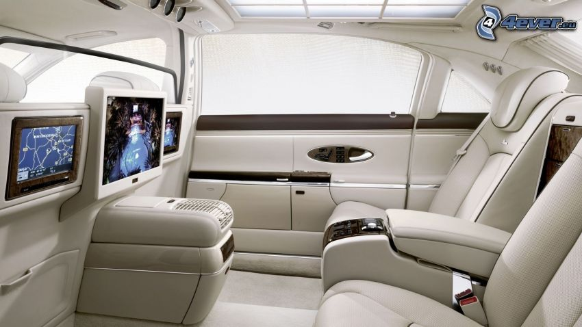 Mercedes, interior, TV, asiento