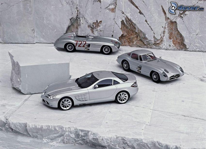 Mercedes-Benz 300SL, evolución, roca, veterano, descapotable