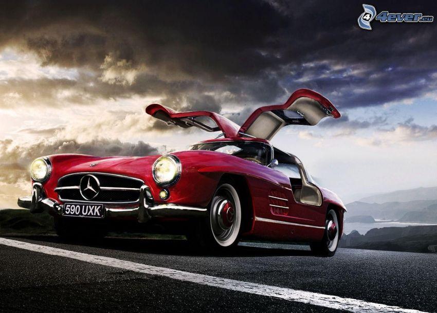 Mercedes-Benz SL, veterano, puerta, nubes