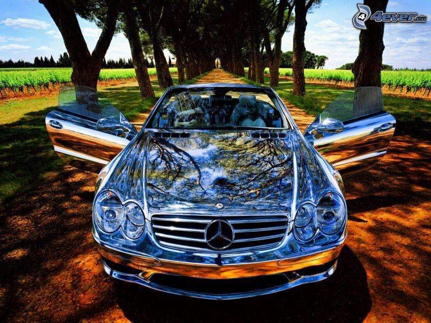 Mercedes-Benz SL55, cromo, descapotable, camino, arboleda, líneas de árboles