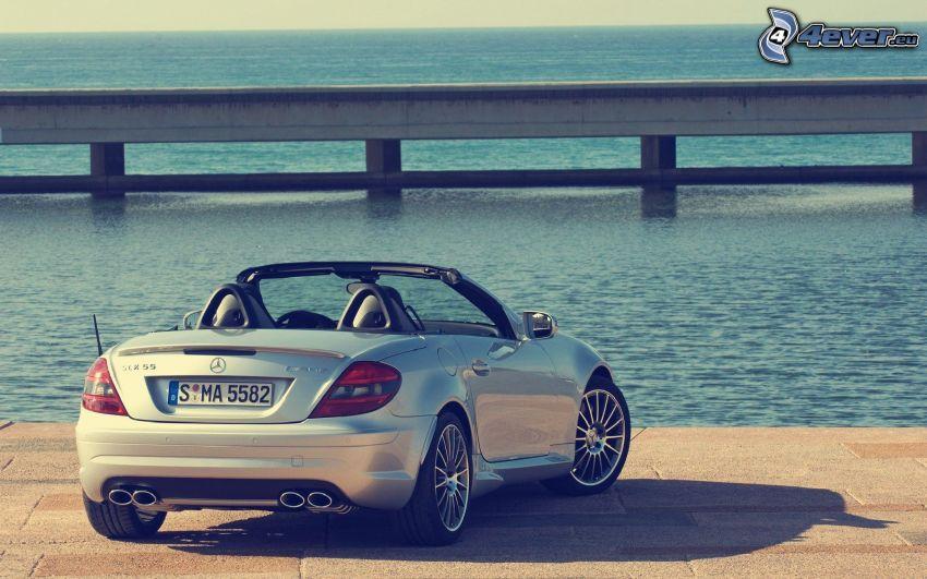 Mercedes-Benz SLK, descapotable, mar, pavimento