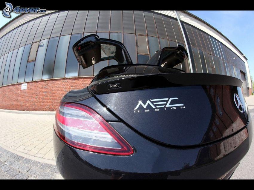 Mercedes-Benz SLS AMG, portaequipajes, puerta, edificio