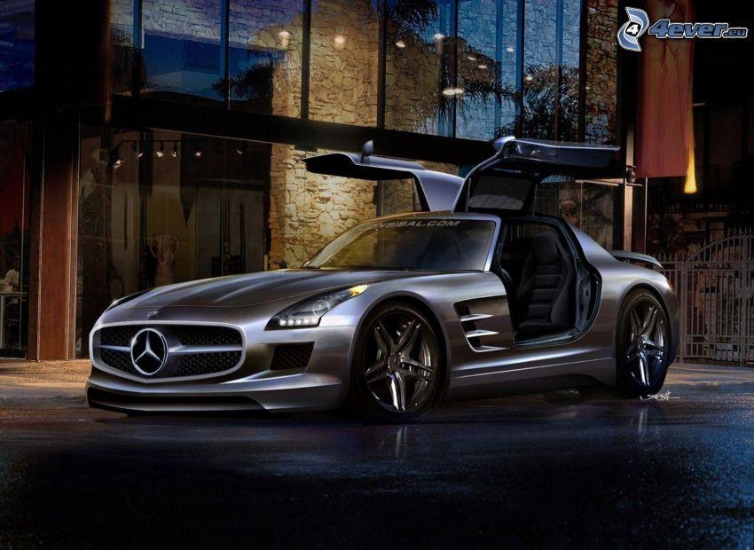 Mercedes-Benz SLS AMG, puerta, edificio