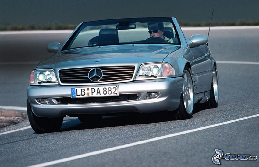 Mercedes SL, descapotable, camino, curva