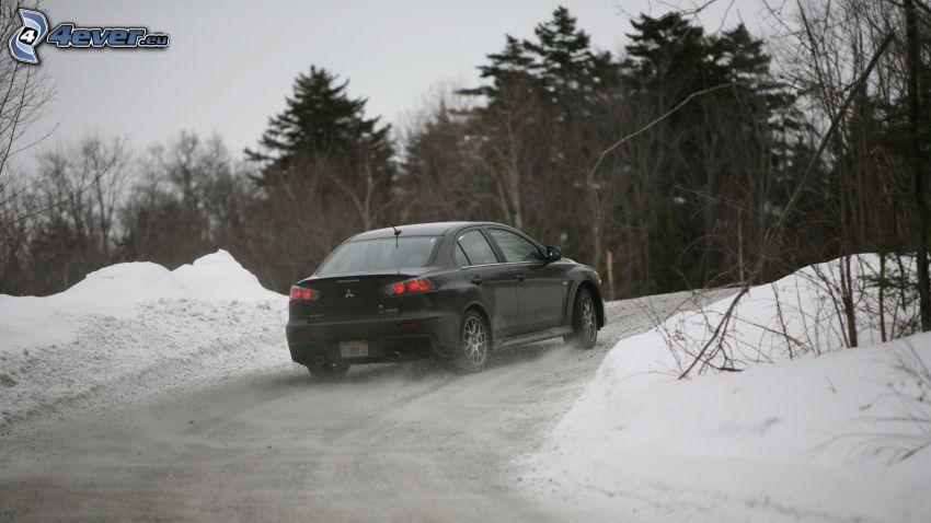 Mitsubishi Lancer, nieve, árboles