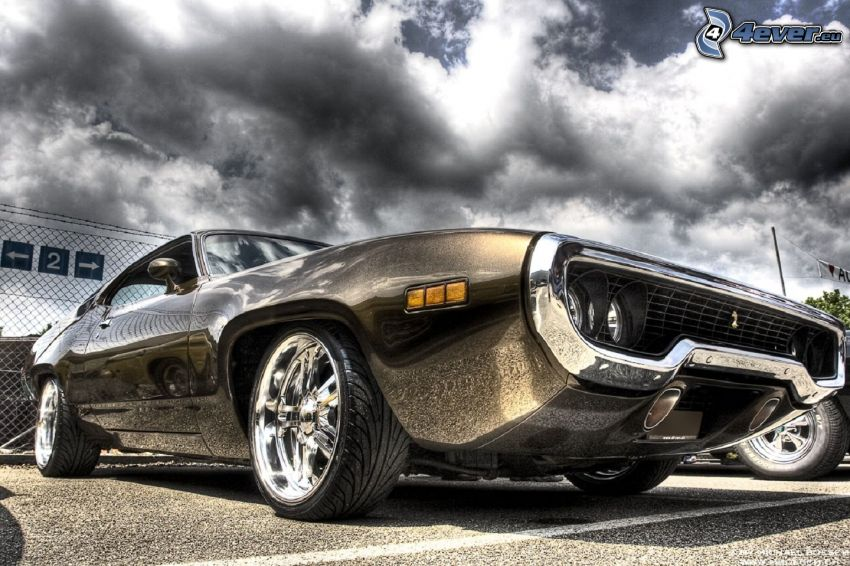 Muscle Car, veterano, nubes, HDR