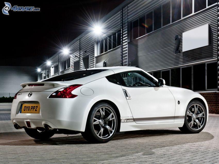 Nissan 370Z, edificio, pavimento, noche, iluminación