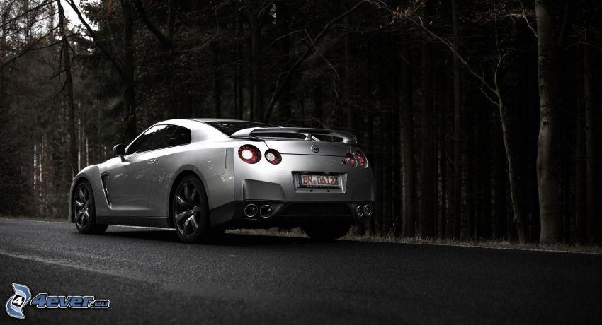 Nissan GTR, camino, bosque oscuro