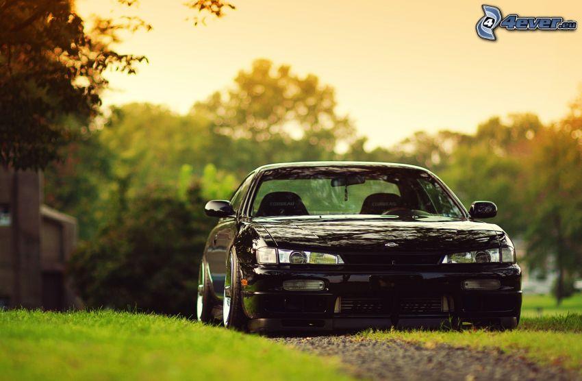 Nissan S14, césped, atardecer