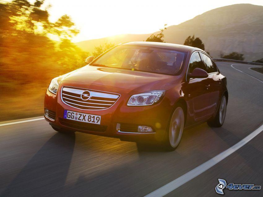 Opel Insignia, puesta del sol, camino, curva
