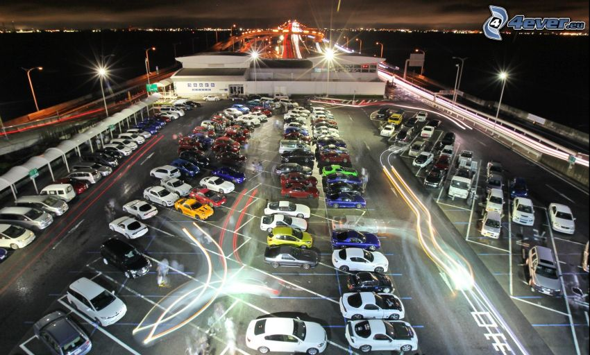 parking, coches, noche, iluminación