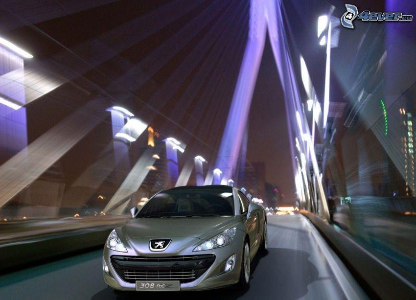 Peugeot 308RCZ, puente, noche
